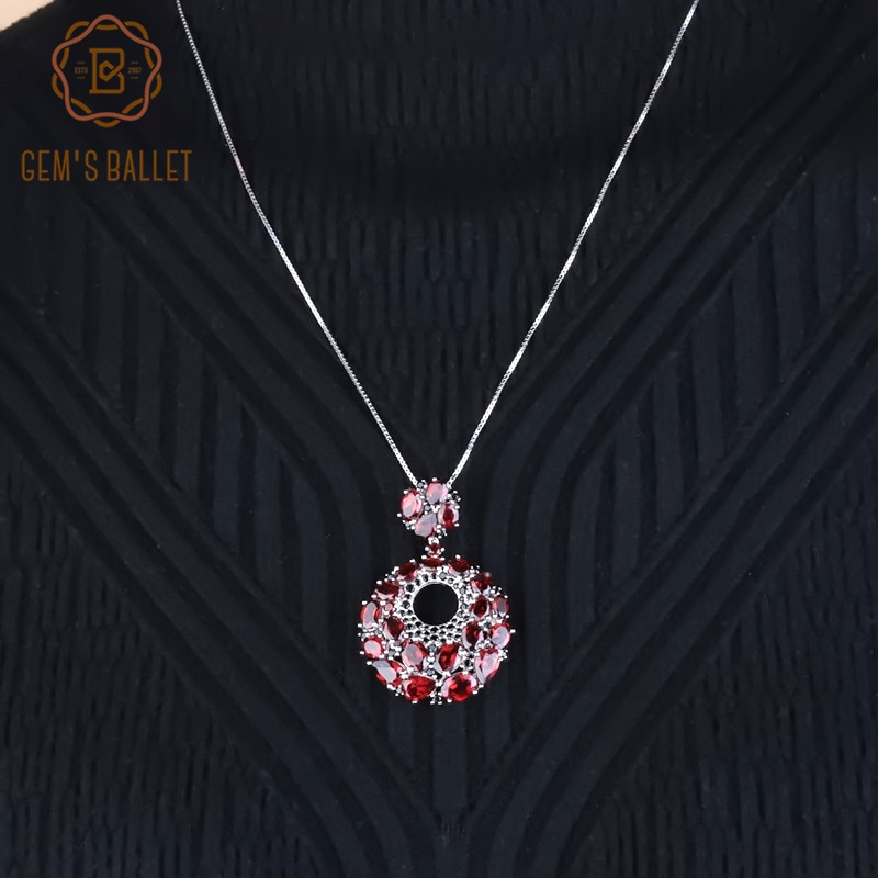 Gema roja de granate Natural de BALLET de GEMS, colgantes de Plata de Ley 925, collar redondo Vintage para mujeres, joyería fina de boda
