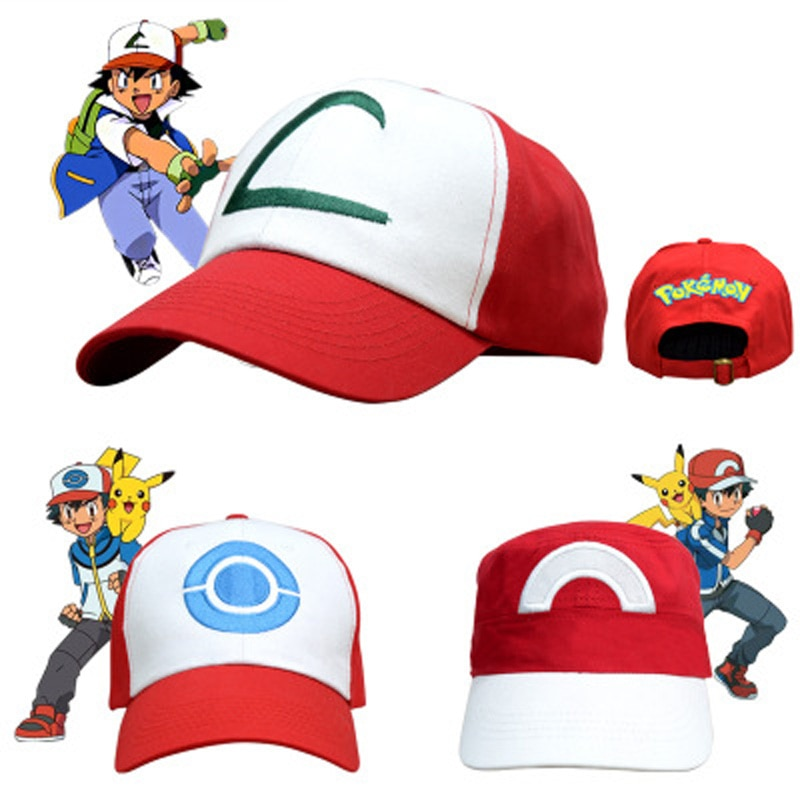 Kids Cosplay Costume Hats Anime Pocket Monster Caps Pokemon Cap Cos Accessories Children Party Gift For Adult Kids Wholesale pocket monster cosplay costume pokemon go cosplay clothing male trainer team valor game anime outfit three color custom made