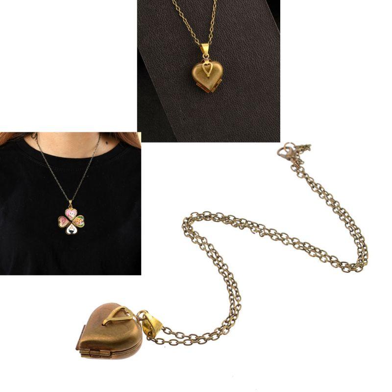 Antiguo trébol de 4 hojas de la suerte collar de cuatro medallón para fotos familia DIY foto joyería collar de las mujeres