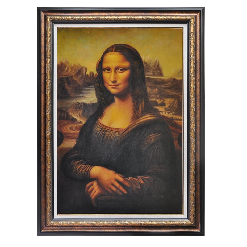 Pintado a mano de Italia pinturas al óleo famosas reproducción Leonardo Da cristal Mona Lisa decoración del hogar pared arte retrato lienzo pintura