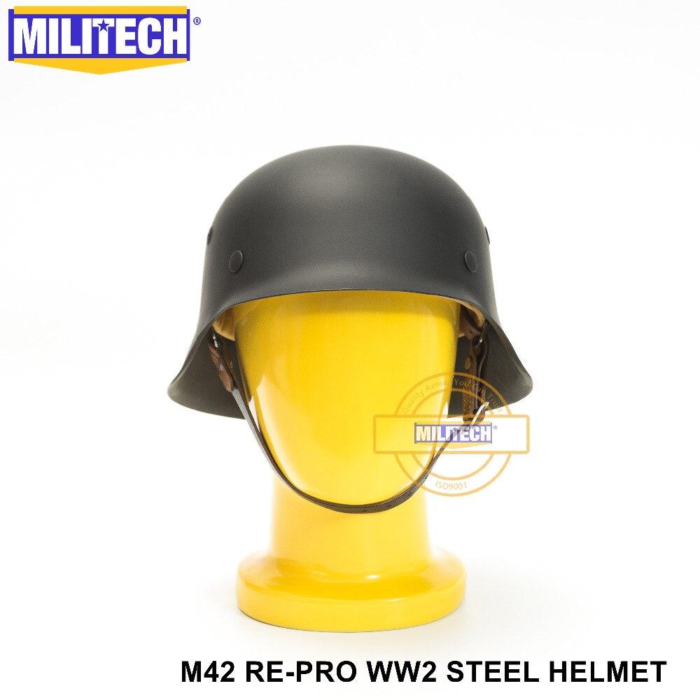 MILITECH negro WW2 alemán M42 casco de acero II Guerra Mundial M42 Repro alemán casco de seguridad para moto de la guerra mundial 2, casco