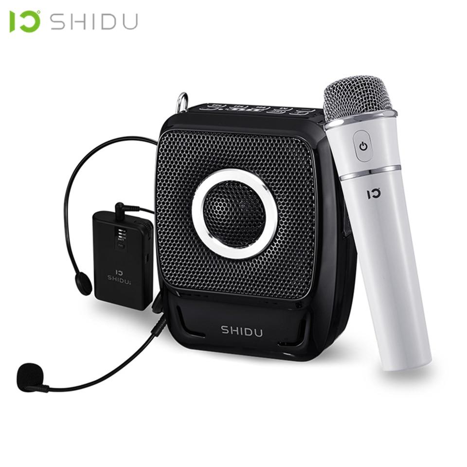 SHIDU-مكبر صوت محمول ، 25 واط ، مقاوم للماء, سماعة صوت صغيرة ، منفذ USB ، مع ميكروفون لاسلكي UHF ، للمدرسين
