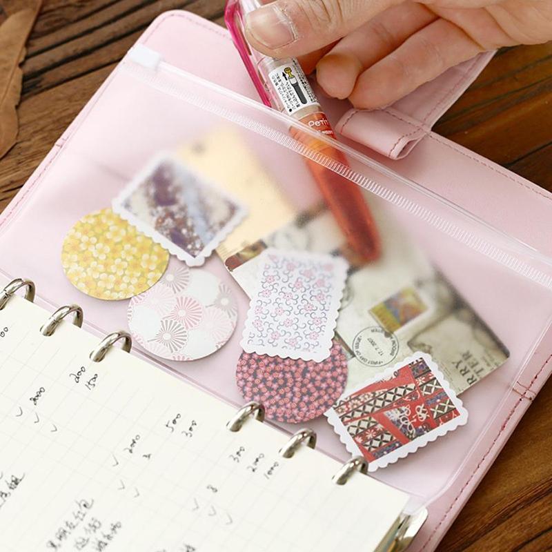 VODOOL PVC A5 A6 A7 Zipper Tasche Karte Bills Clips Taschen Lose Blatt Lagerung Inhaber Taschen Einreichung Tasche Schreibwaren Versorgung dropshipping