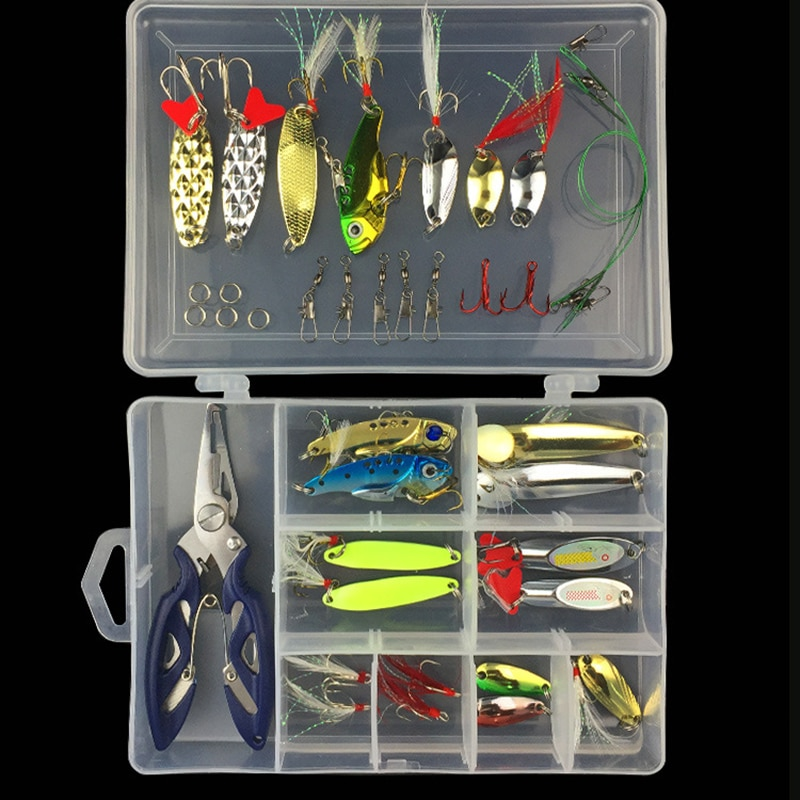Htdob 42 Piezas colores mezclados Señuelos de Pesca cuchara cebo Metal señuelo Kit lentejuelas ruido Paillette con gancho de plumas pesca