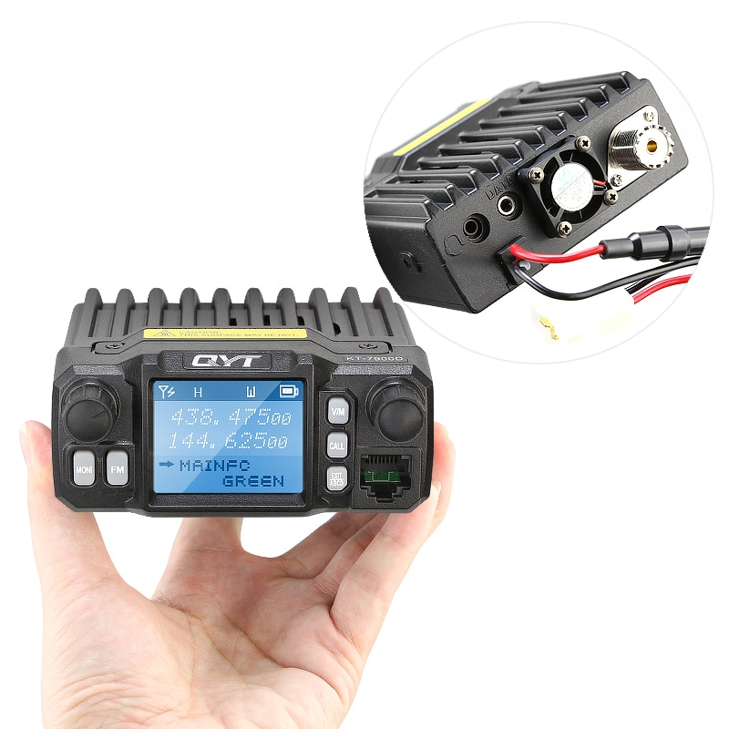 QYT KT-7900D Quad Band 136-174/220-270/350-390/400-480MHz 25W 200 canales pantalla colorida Mini Radio FM móvil con Cable