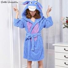 Cute Unicorn Unisex Donkey Nightgown Cartoon Robes men women Gown Long Sexy robe Animal Sleep Robe femme homewear Bathrobe