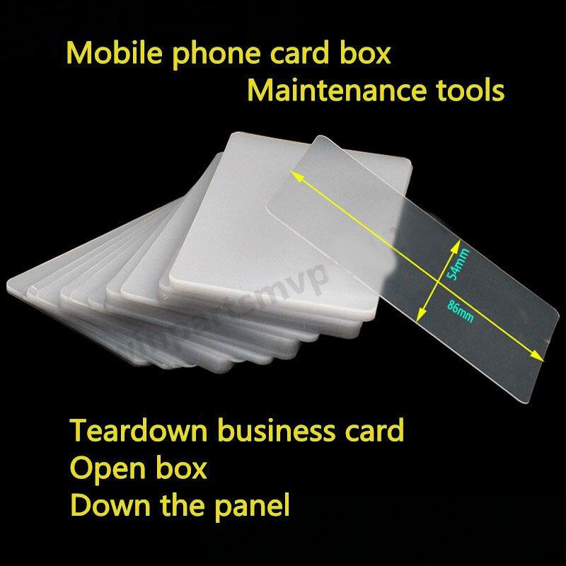 20/50/100 pçs/lote da divisão do telefone escudo desmontagem a caixa quadro tela lcd reparação cartão de visita cartão plástico folha