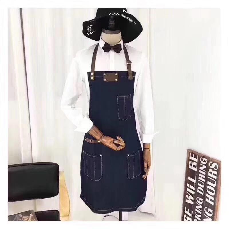 Модный ковбойский фартук для барбекю хлопковый нагрудник выпечки кожаные ремни