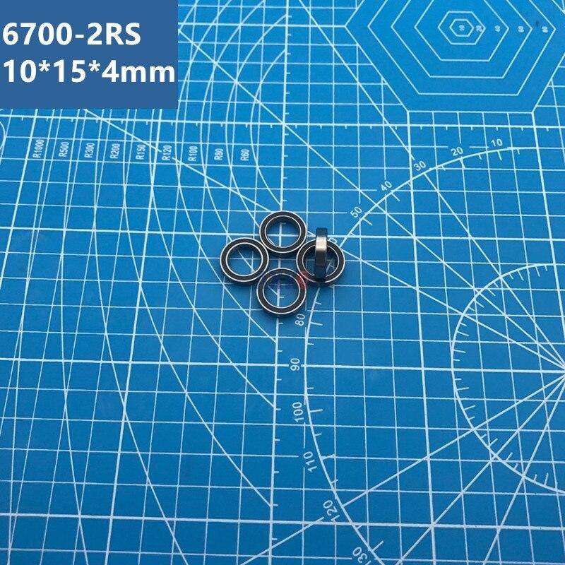 Envío Gratis 6700RS Bearing (10 Uds.) 10*15*4mm sección delgada 6700-2RS rodamientos de bolas 61700 RS 6700 2RS con A-1510DD negro sellado