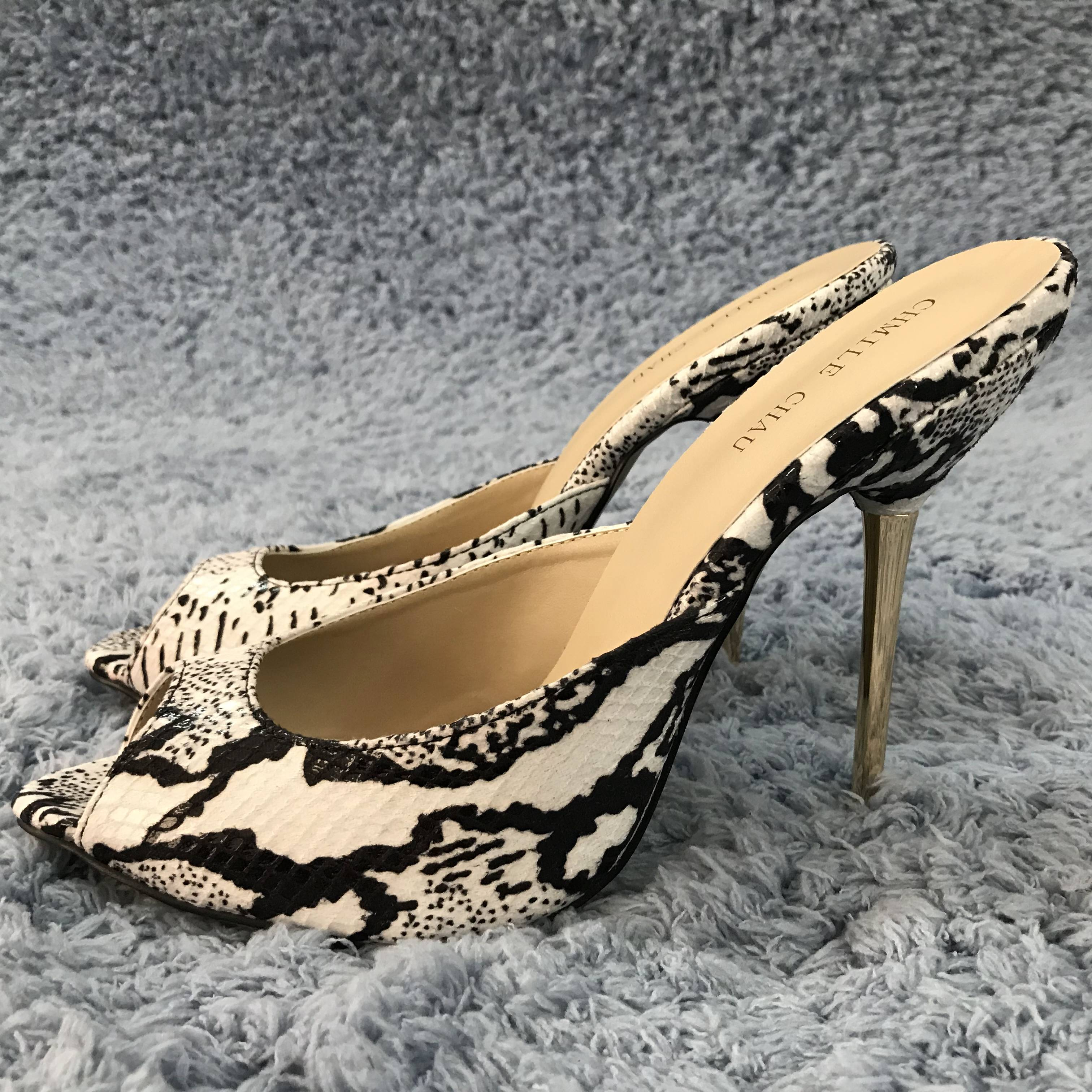Women Stiletto Thin Iron High Heel Sandals Sexy Peep Toe Black and White Snakeskin Party Bridals Ball Evening Lady Shoe 3845-FA9
