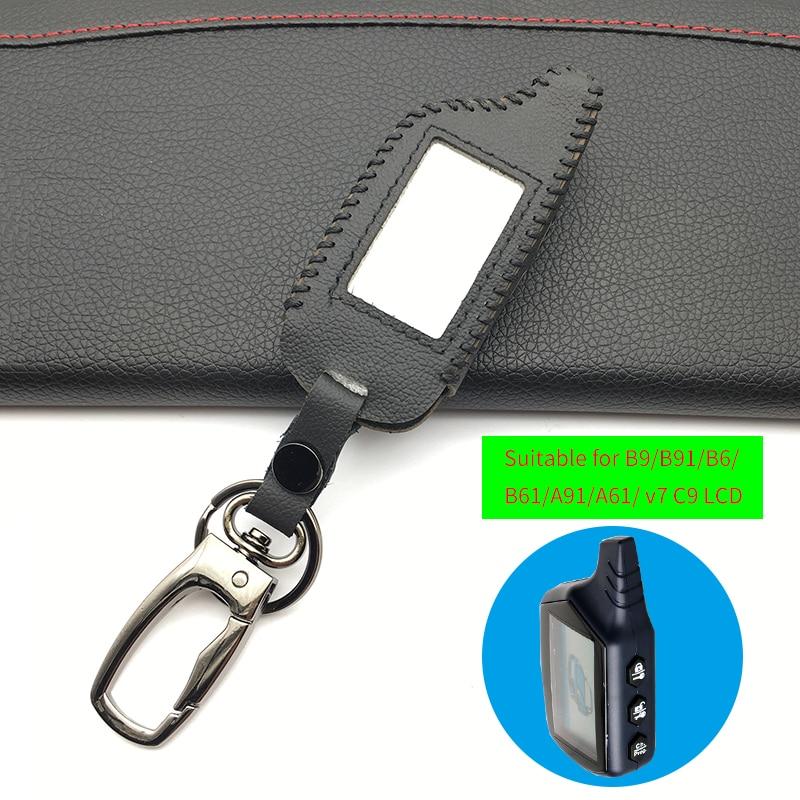 100% Funda de cuero genuino para Starline B9 B9 / B91 / B6 / B61 / A91 / A61 / V7 C9 LCD forma de gran oferta de alarma remota de coche