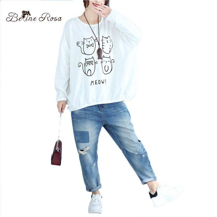 BelineRosa ropa Casual Coreana de las mujeres Kawaii Pinrt lindo gato suelta Hoodies tamaño grande otoño mujeres jerseys BSDM0053