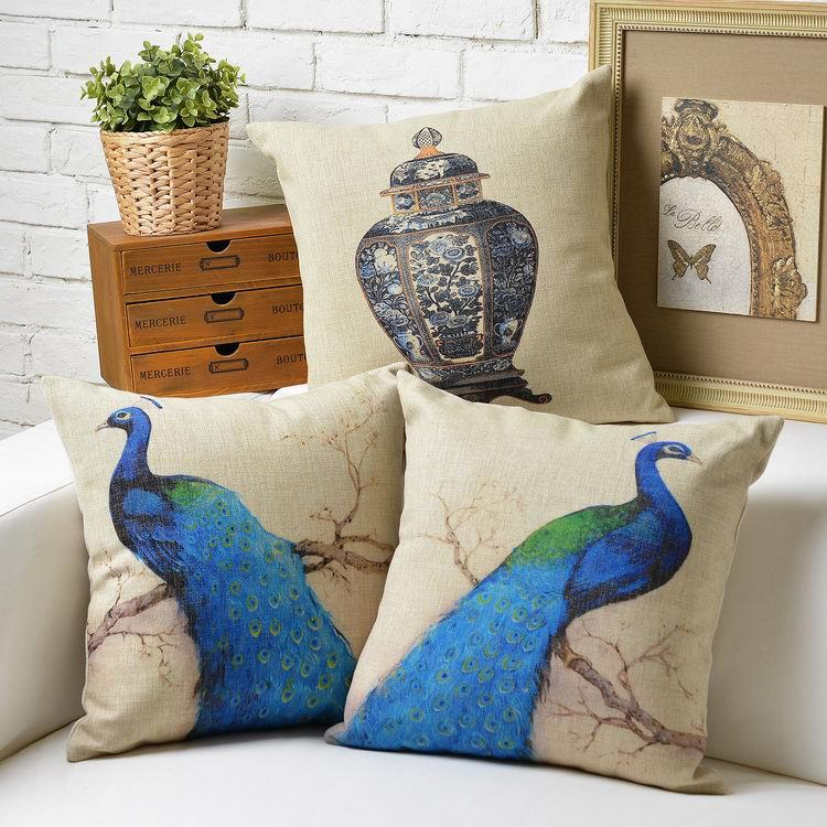Vintage Modern European The bird peacock Pillow Cushion  Linen Pillow   home decorate sofa cushions