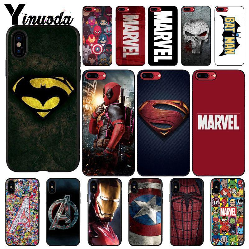 Yinuoda Deadpool Hombre de Hierro vengadores de Marvel logotipo bricolaje teléfono caso para iphone 11 Pro Max 8 7 6 6S Plus X XS X MAX 5 5S SE XR
