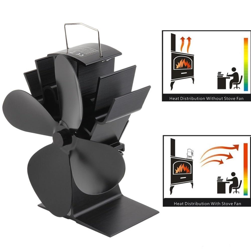 Black Fireplace 4 Blades Heat Powered Stove Fan Log Wood Burner Ecofan Quiet Home Fireplace Fan Efficient Heat Distribution
