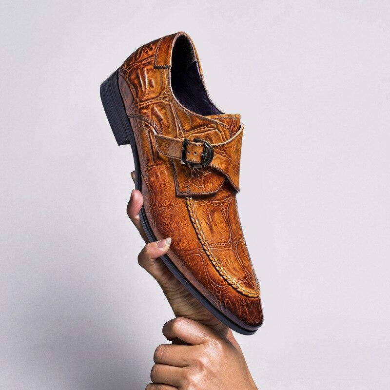 Zapatos formales para hombre Phenkang, zapatos oxford de cuero genuino para hombre, zapatos de vestir negros 2020, zapatos de boda, zapatos de cuero slipon