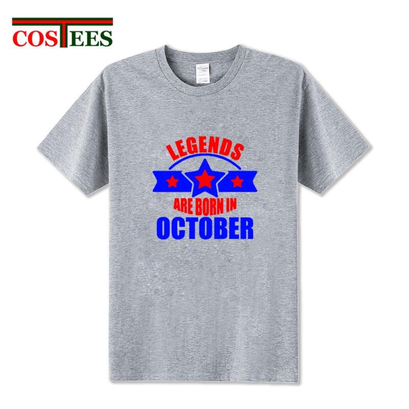Novedad de 2018, nuevo diseño, vestido de verano, regalo de cumpleaños, leyendas nacen en octubre, camiseta para hombre, camisetas, camiseta de grupo