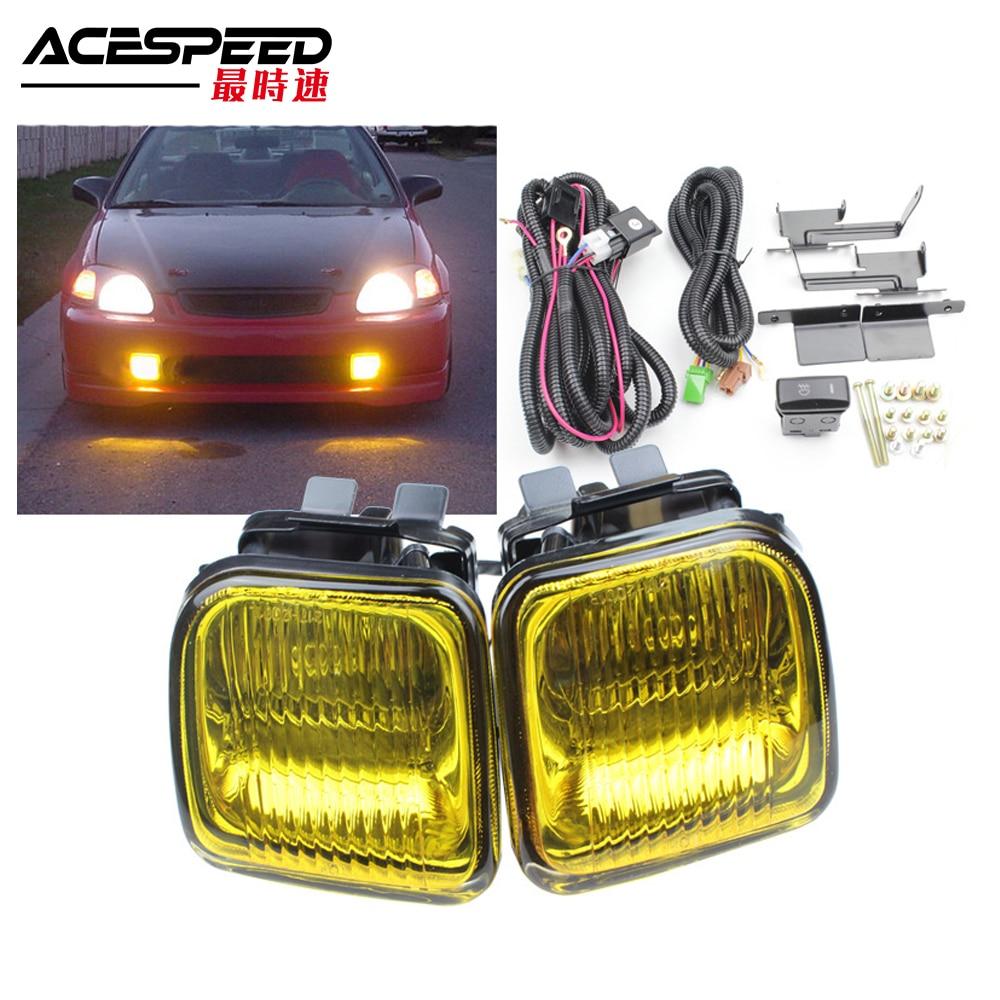 JDM Fog Lights Lamp For Honda Civic EK 1996 97 98 2 3 4DR Fog lamp Driving Lamp with Switch Yellow Clear