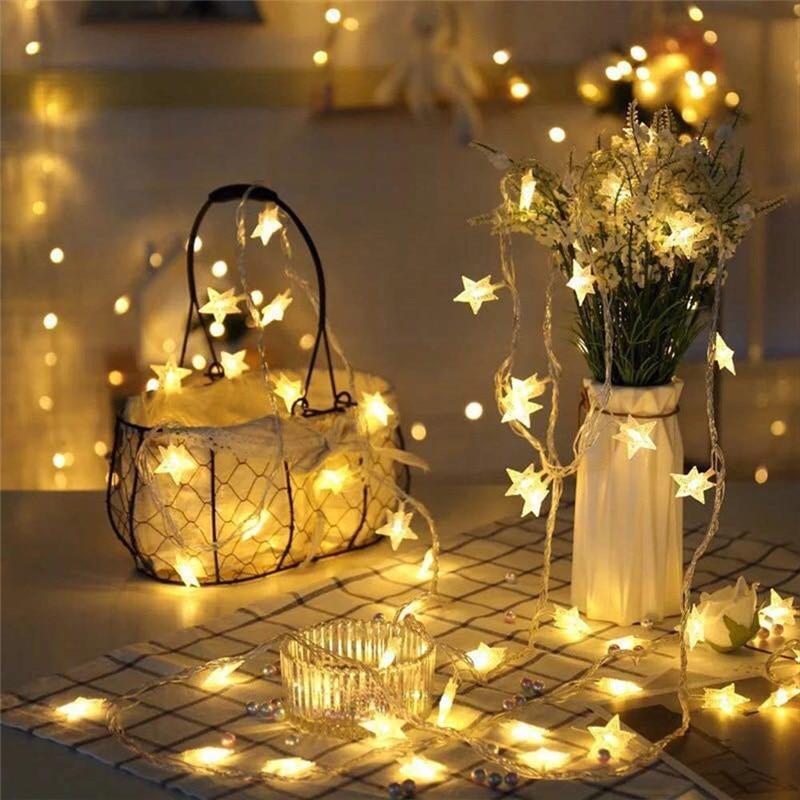 NEW 20/30/50 LED Star fairy Solar Lamp Power LED String Fairy Lights Solar Garlands Garden Christmas Wedding Decor For Outdoor