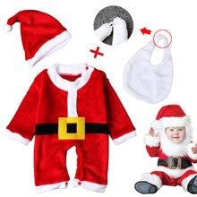 3PCS Baby christmas cosplay costume Santa Claus warm costume Long Sleeve Hat bib Halloween Christmas
