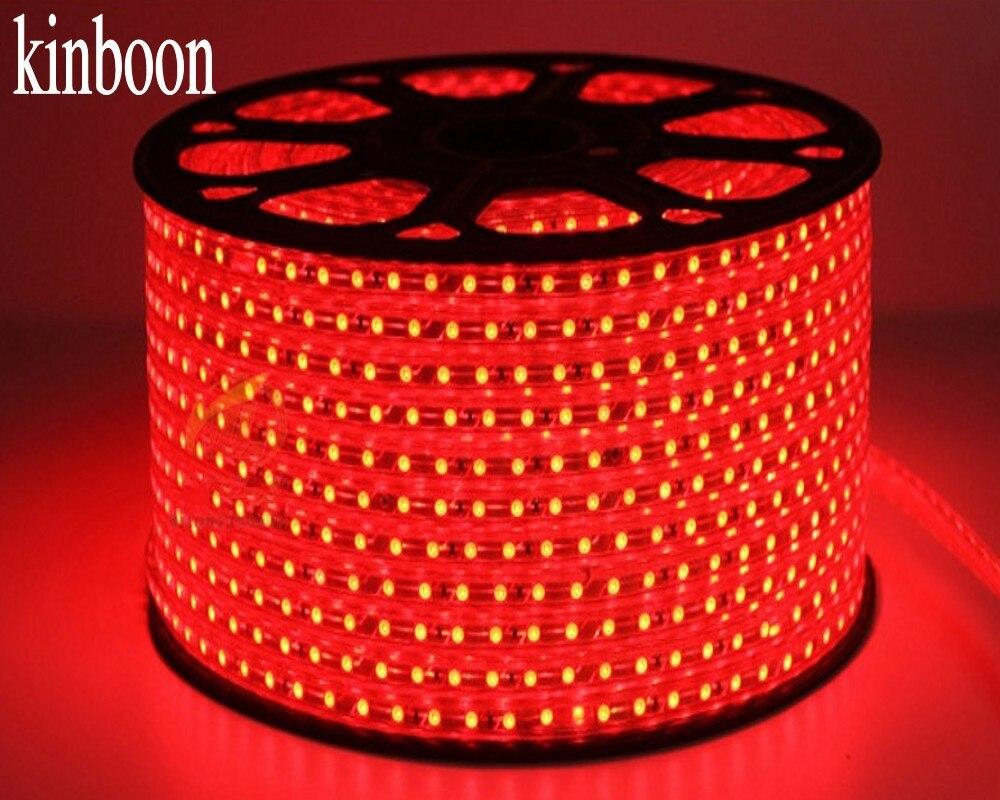 Tira CONDUZIDA Impermeável SMD 5050 AC220V 100 m led Vermelho faixa 5050 220 v Luz Com Plugue de Energia DA UE de Natal tira CONDUZIDA 100 metro