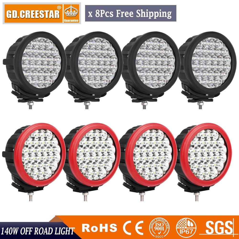 High Power Round Driving ATV spotlights 140W 28leds x 5w/pc Led offroad lights 12500Lumens Super Bright led work lights x8pcs