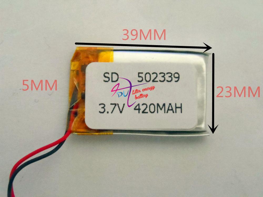 Планшет размер батареи 502339 3,7 V 420mah литий-полимерный аккумулятор с защитной платой для Bluetooth GSP цифровых продуктов