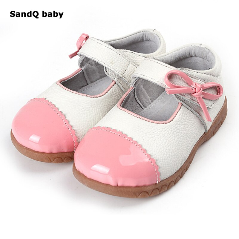 2020 New Children Shoes Girls Genuine Leather Single Shoes Patchwork Bowknot Princess Flats Baby Soft Sole Toddler Shoes