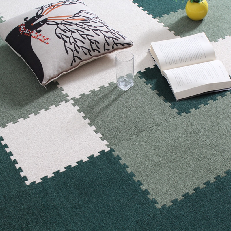 Neeu EVA foam and Soft Shaggy baby Play Puzzle Mat Children Rug Interlocking Exercise Crawl Tiles Floor Carpet for Kids