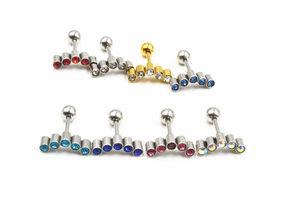 50pcs Free Shippment Body Piercing  jewelry-  Shine Crystal Gems Women Earring Ear Studs Helix Cartilage Lobe Bar Mix Colors 16G