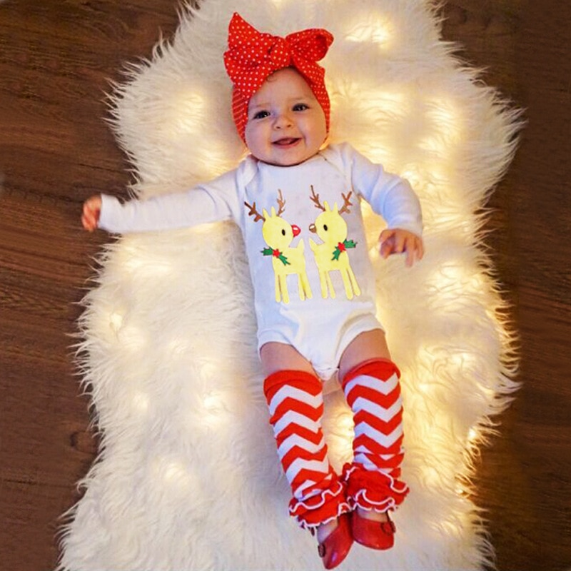 VTOM 3 Pcs Newborn Infant Baby Girls Chrismas Sets  Baby Girl  Rompers+Headband+ Leg Warmer Sets Jumpsuit Xmas Clothes Set