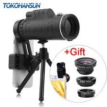 TOKOHANSUN 40X 망원 줌 폰 렌즈 망원경 40x60 렌즈 (삼각대 포함) IPhone + Fisheye 와이드 앵글 매크로 3In1 렌즈