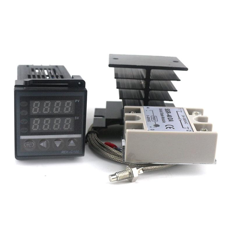 Dual Digital PID SSR Thermostat Regulator Temperature Controller Kit REX-C100 with SSR-40DA, Heat Sink, 2m K Thermocouple