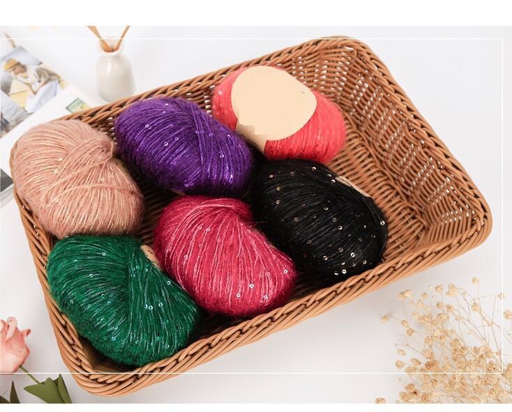5 uds = 250g Paillette de lana hilados para ganchillo de hilo para tejer a mano lana hilos bufanda tippet mohair hilo de ganchillo