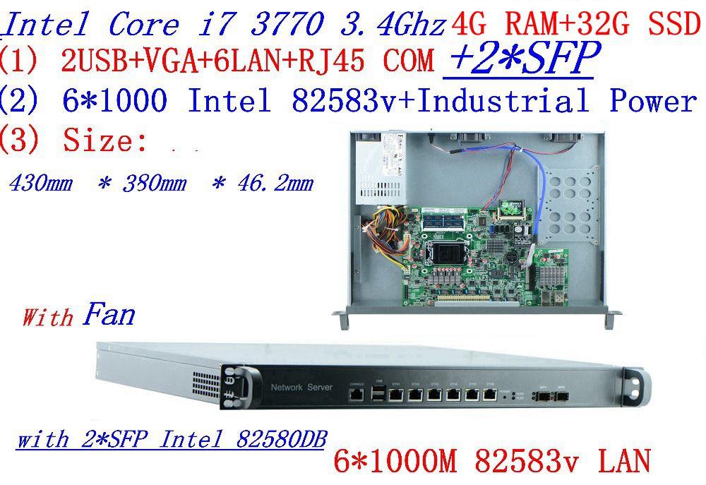 Barato servidor en rack 1U routers con 6*6*1000 M 82583V Gigabit con 2 * SFP InteL I7 3770 de 3,4 Ghz de 4G RAM 32G SSD soporte ROS RouterOS etc.