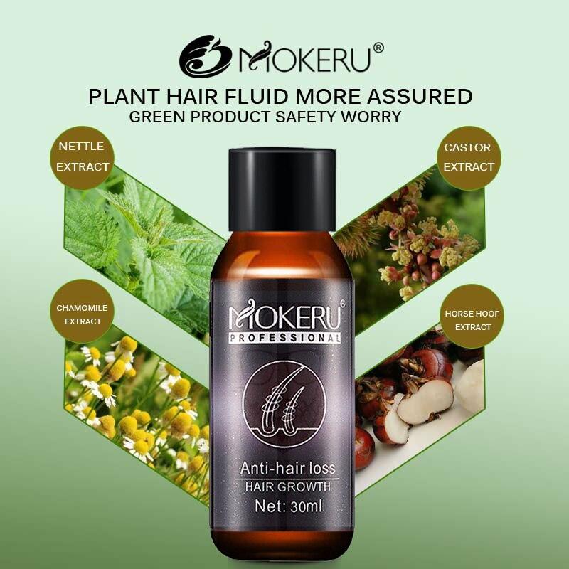 Mokeru 1pc 30ml Natural organic anti hair loss products baldness treatment hair growth agent herbal hair regrowth oil for man