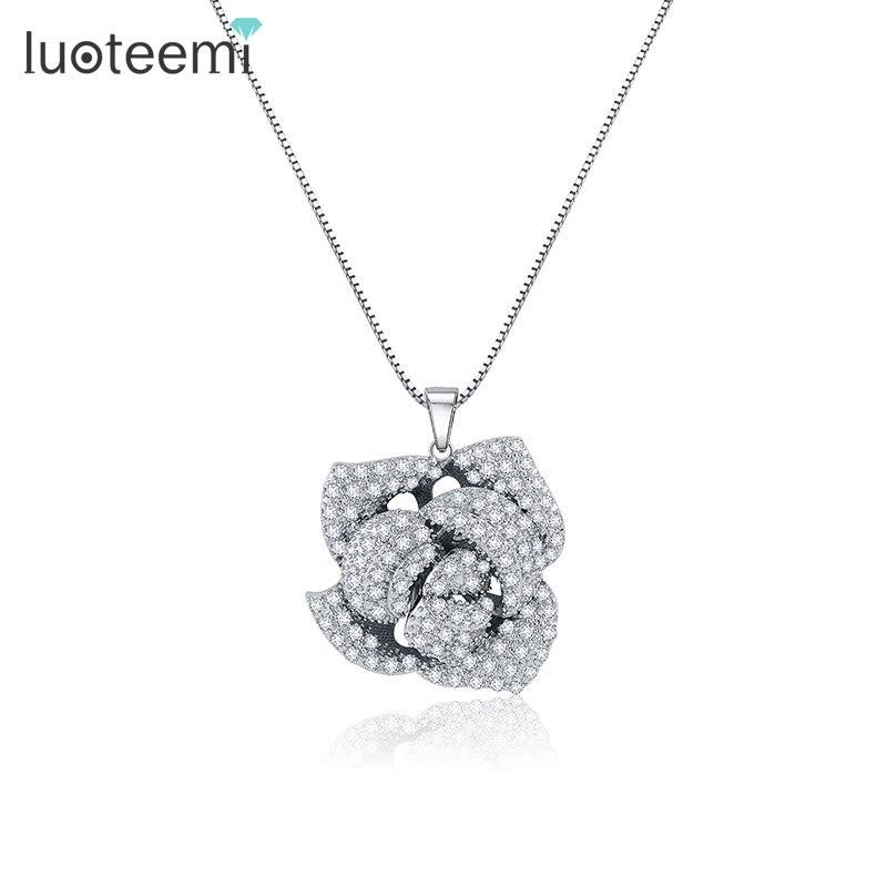 LUOTEEMI, nueva marca de diseñador, joyería, cristal de zirconia cúbica, Micro pavimentado, rosa, flor con varias capas, collares de mujer, Color blanco dorado