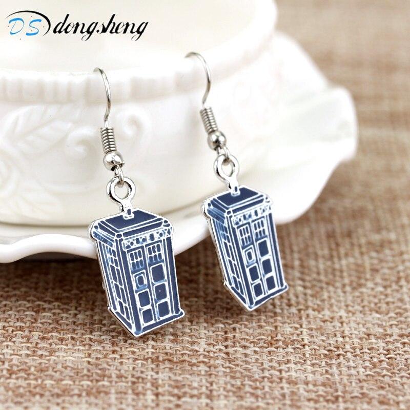 Женские серьги-подвески dongsheng, сережки для телефона в полицейской коробке с надписью Doctor DW