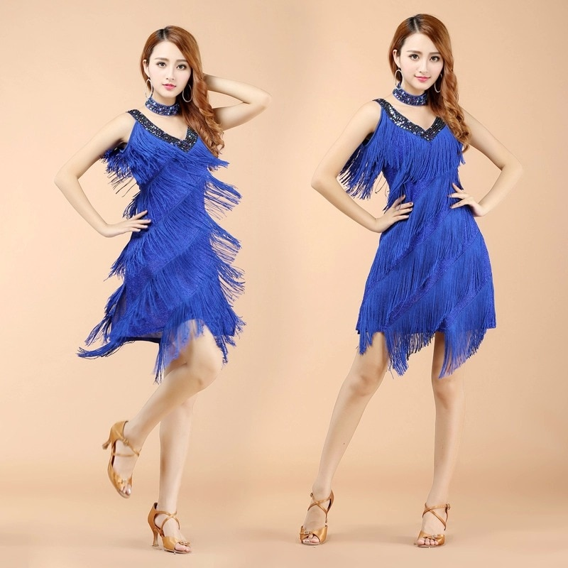 New V Neck Tassel Fringe Latin Dance Outfits stage performance Wears adult Tassels Clothes for Latin