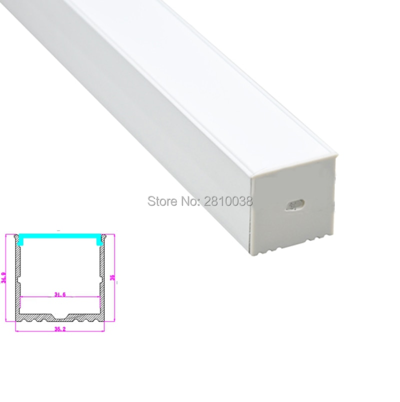 10 X 1M Sets/Lot Extruded Aluminum U channel and 35x35mm aluminum led profile housing for recessed wall lamps