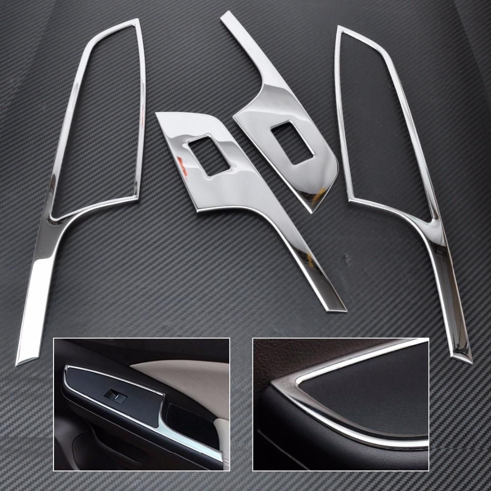 CITALL New 4pcs ABS Chrome Car Interior Door Window Switch Panel Molding Trim Cover For Honda CR-V CRV 2012 2013 2014 2015