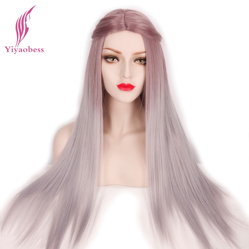 Peluca Yiyaobess de 26 pulgadas recta de largo degradado para Cosplay, pelucas de pelo sintético Natural RESISTENTE al calor para mujeres blancas