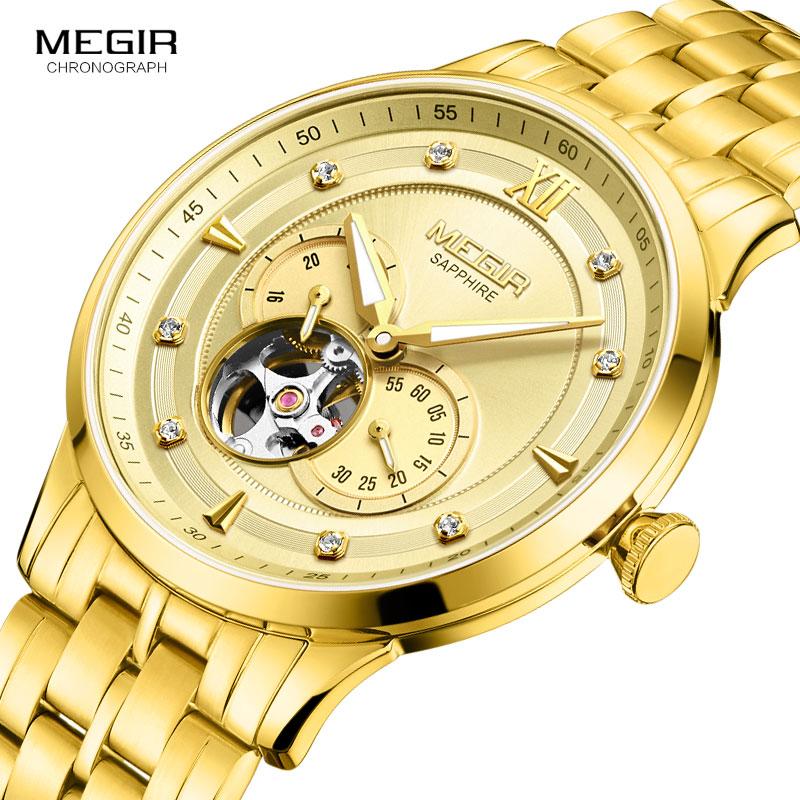 MEGIR Mens Watches Top Brand Business Fashion Automatic Mechanical Watch Men Full Steel Sport Waterproof Watch Relogio Masculino