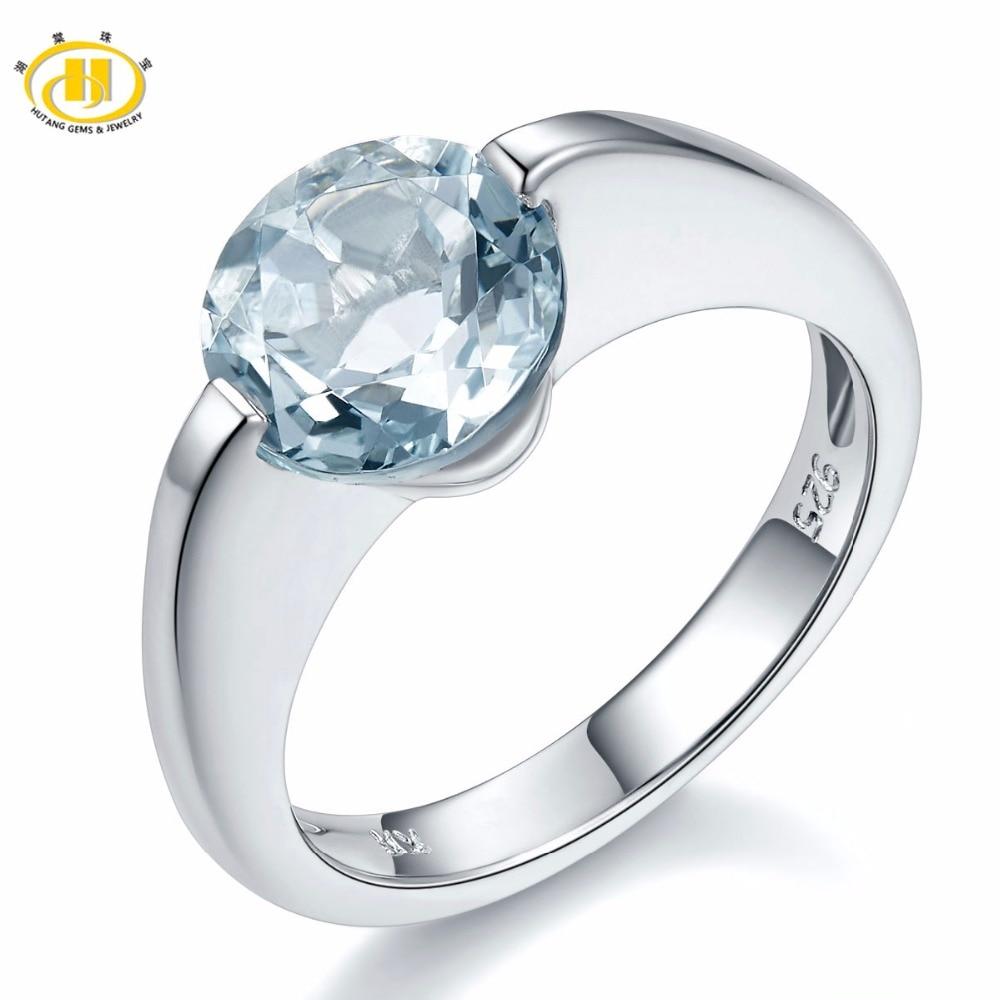 Hutang gema auténtica aguamarina sólida plata 925 anillo solitario amor regalo piedra fina joyería de compromiso mejor venta