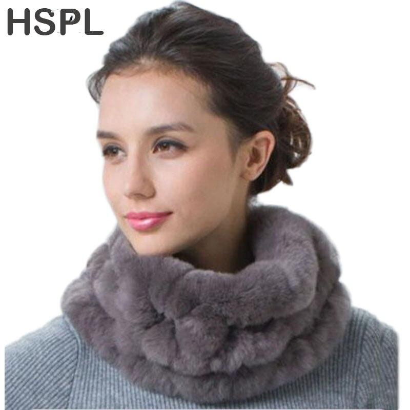 HSPL Real Fur Scarf For 2019 Women Wholesale Ladies Handmade Genuine Rex Rabbit Fur Snoods Women fur round scarves