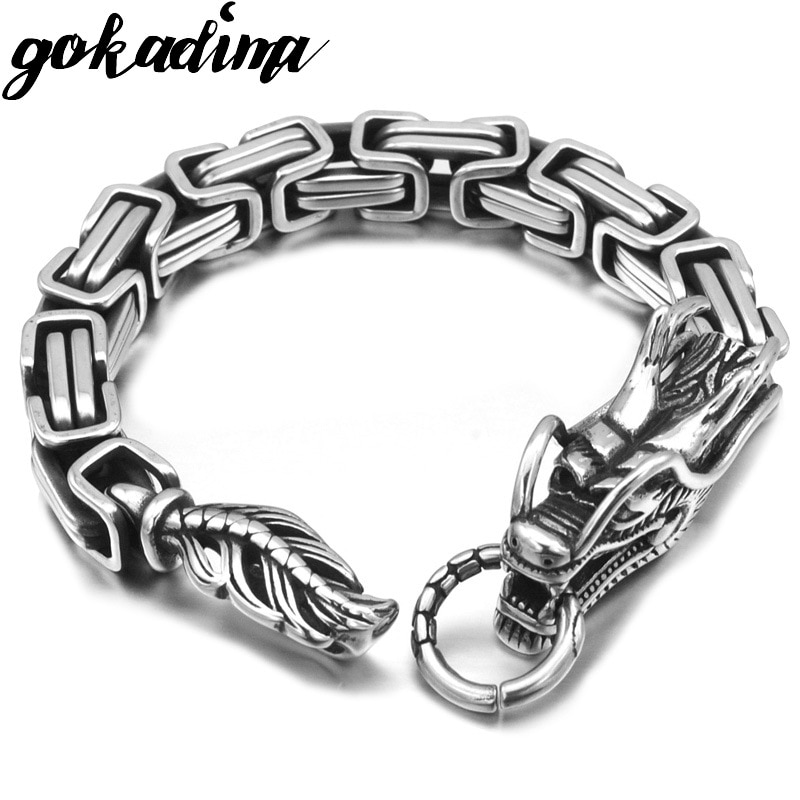 GOKADIMA Fashion Bracelets Clasp Stainless Steel Dragon head Bracelet  Jewelry Men Byzantine Link Chain WB644