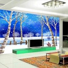 Papel pintado personalizado beibehang 3d foto mural ensueño nieve invierno abedul bosque TV Fondo pared pintura decorativa 3d papel tapiz