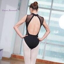Justaucorps femmes noir strechtch maille col roulé sans manches justaucorps adulte filles Ballet justaucorps