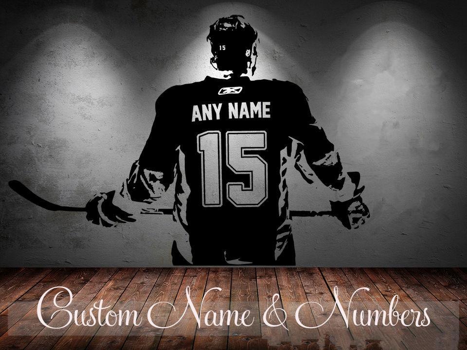 Pegatina de Arte de pared para jugador de Hockey, pegatinas de decoración...