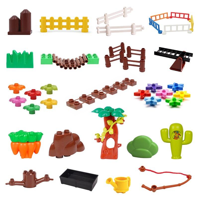 Valla puente con escaleras modelo grande accesorios de bloques de construcción árbol juguetes de flores para niños Compatible Duplos juego de granja ladrillos regalo